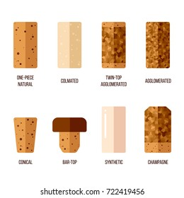 Vector cork stoppers, different types and production technologies. Flat style.