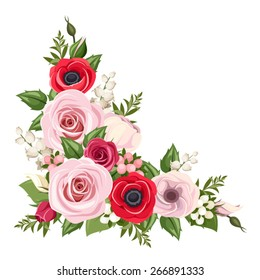 Vector corner background with red and pink roses, lisianthus and anemone flowers, lily of the valley and green leaves.