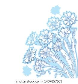 Vector corner bouquet with outline Cornflower or Knapweed or Centaurea flowers, bud and leaf in pastel blue isolated on white background. Ornate contour Cornflower bunch for summer design.