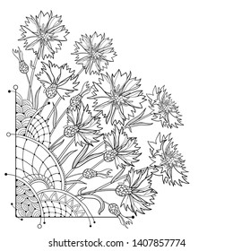 Vector corner bouquet with outline Cornflower or Knapweed or Centaurea flowers, bud and leaf in black isolated on white background. Ornate contour Cornflower bunch for summer design or coloring book.