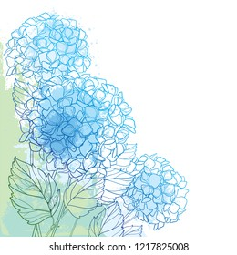 Vector corner bouquet of outline Hydrangea or Hortensia flower bunch and ornate foliage in blue and green on the pastel textured background. Contour garden plant Hydrangea for summer design.