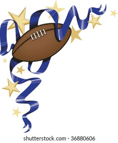 A vector corner embellishment featuring a football, stars, and ribbons