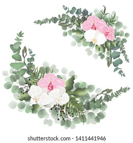 Vector corners for floral design. Pink and white Orchid flowers, green leaves, plants. All elements are isolated.