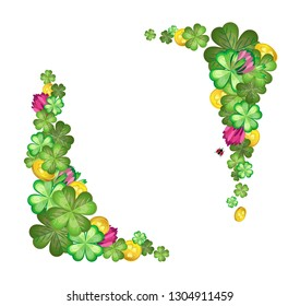 Vector corners of flowers and leaves of clover interspersed with gold coins. Isolated compositions. Transparent background.