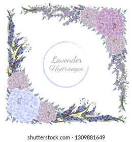 Vector corners of hydrangea flowers, green leaves and lavender. All elements are isolated.