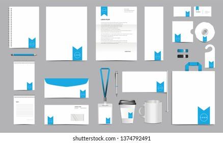 Vector Corporate Identity Design Template. Stationery Set of Envelope, Letterhead, Business Card, Folder, Notebook, Paper bag, Mug for Business Office Stationery Mockup Template