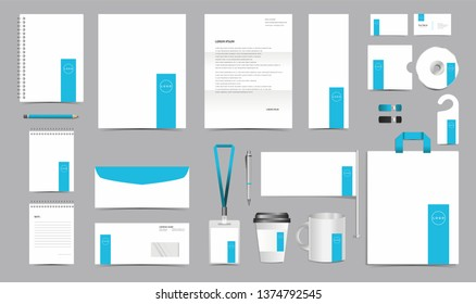 Vector Corporate Identity Design Template. Stationery Set of Envelope, Letterhead, Business Card, Folder, Notebook, Paper bag, Mug for Business Office Stationery Mockup Template