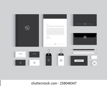 Vector corporate identity mock up. Black and white colors wit abstract symbol.