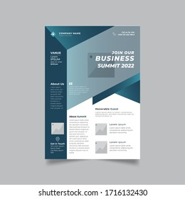 Vector corporate modern dark blue gradient color business summit professional flyer brochure template design with standard a4 size. Great for business promotion presentation print project.