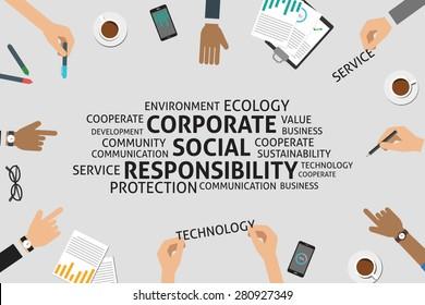vector corporate social responsibility concept,template