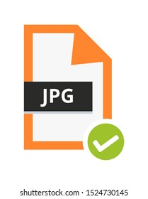 Vector correct approved jpg or jpeg file. Flat orange icon with green check sign. Symbol of jpg file with lossy compression for pictures, photos, images and graphic isolated on a white background.