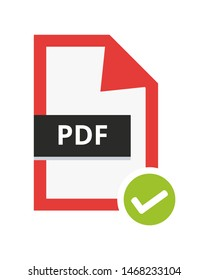 Vector correct approved pdf file. Flat icon with green check sign. Symbol of portable document file for web and print isolated on a white background.