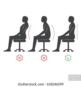 Vector - correct back position, black man silhouette vector illustration right person posture eps10