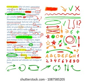 Vector Correction Marks Set, Colorful Design Elements with Text Template.