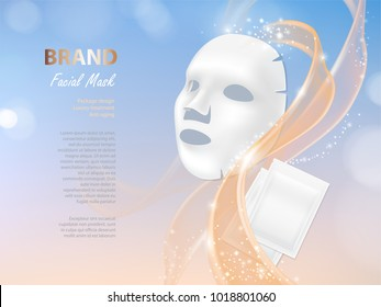 Vector cosmetic banner with 3d realistic vector facial mask and white package for it isolated on colorful background. Skincare, anti-aging beauty product for face treatment. Mockup for brand design