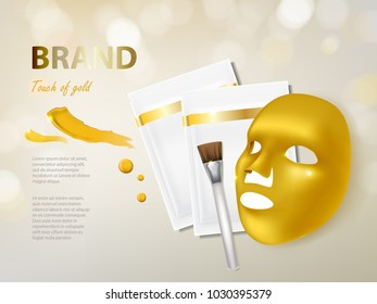 Vector cosmetic banner with 3d realistic golden facial mask, brush and package for it, isolated on background. Luxury premium beauty product with gold for face treatment. Mockup for brand design