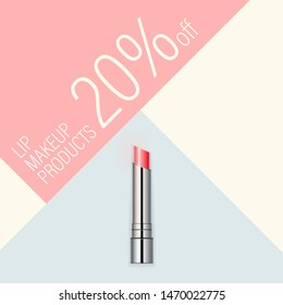 Vector cosmetic banner. Minimalist beauty background template in pastel colors. Makeup pink lipstick in metal gloss container. Ad poster for online store or beauty magazine.