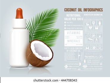 Vector cosmetic bottle with benefits coconut oil infographic.