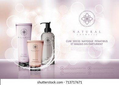 Vector cosmetic illustration for the promotion of cosmetic products on light beige bokeh background. Cosmetic cream containers and tubes for cream, lotion, shampoo, balsam, conditioner, spray