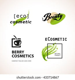 Vector cosmetic insignia isolated on white background. Eco product brand mark. Cosmetic label design. Cosmetic logo. Beauty industry company logo. Brush stroke, hand drawn plant, cherry symbol.