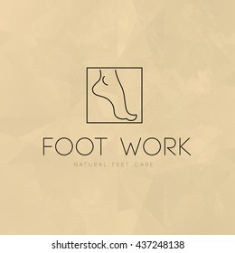 Vector cosmetic logo design template. Lady foot icon. Skin, foot care brand mark. Beauty icon, health care, medicine company insignia isolated. Woman health, linear flat simple icon. Natural product.
