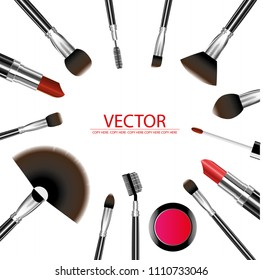 vector cosmetic tool on white background. brush. shading. eye shadow. eyebrow.make up product.