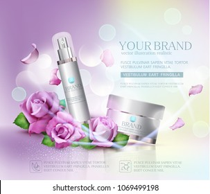 Vector  cosmetics jars on bokeh background and roses. Element for modern design, advertising for sales, template cosmetic face cream, body. Realistic 3d illustration.