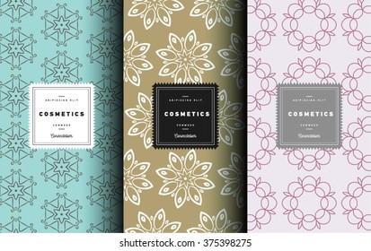 Vector cosmetics logo design element in linear style - icons and signs and patterns for package and beauty salons. Botanical collection. Organic, natural cosmetic