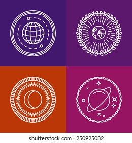 Vector cosmic signs and line icons - space logos and design elements