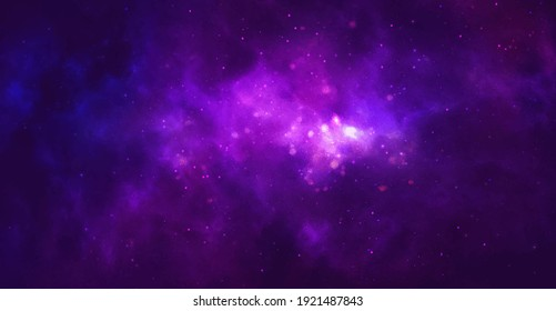 Vector cosmic watercolor illustration. Colorful space background