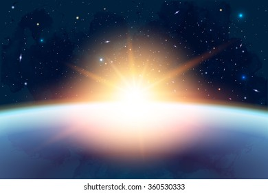 Vector Cosmology Illustration with Universe, Galaxy, Sun, Planets and Stars. Can be used for Invitation or Booklet. Futuristic view with Depth and Space Background