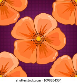 Vector cosmos flower seamless pattern in purple, beige and orange colors.