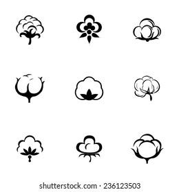 Vector cotton icon set on white background