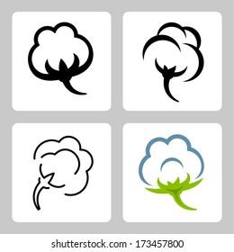 Vector cotton icons set