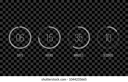 Vector countdown circle clock counter timer. Vector digital count down circle board with circle time pie diagram. Scoreboard of day, hour, minutes and seconds template design on transparent background