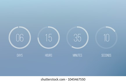 Vector countdown circle clock counter timer. Vector digital count down circle board with circle time pie diagram. Scoreboard of day, hour, minutes and seconds for web page event template design