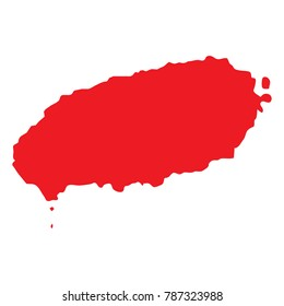 Vector countour map of South Korean Jeju Island, known also as Cheju or Jeju-do. Jeju island map silhouette.