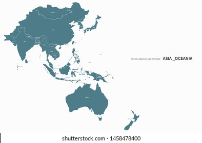 vector countries map of oceania and asia. asia map. oceania map. pacific countries. - Shutterstock ID 1458478400