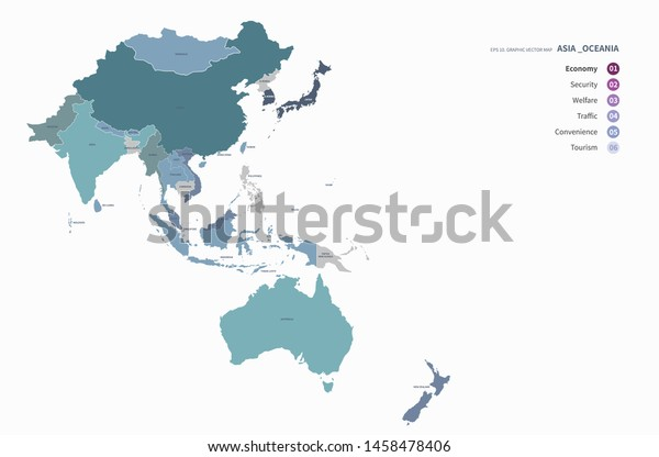 Vector Countries Map Oceania Asia Stock Vector (Royalty Free) 1458478406