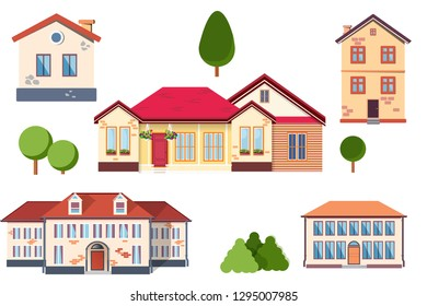Vector country house real estate flat style. Eco farm, downshifting.