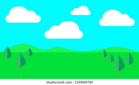 Vector of country side view with green landscape, hills, blue sky with clouds.