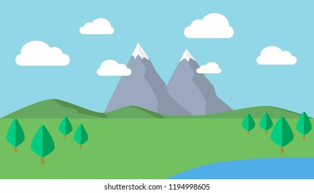 Vector of country side view with green landscape, hills, mountain, blue sky with clouds and lake.