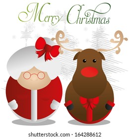 Vector Couple Of Cute Christmas Characters Isolated