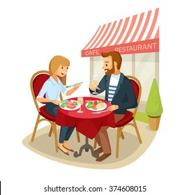 Vector couple having a dinner in street cafe