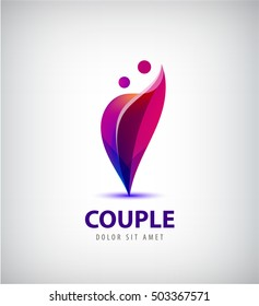 Vector couple logo. Love, support, man and woman together icon, concept. This also represents hug & embrace, close friends together, events like engagement, marriage, live-in
