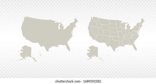 Vector couple soft yellow of map United States of America (USA). on transparent background.