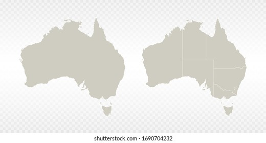 Vector couple soft yellow of map Australia. on transparent background.