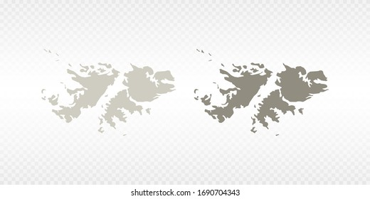 Vector couple soft yellow of map Falkland Islands. on transparent background.