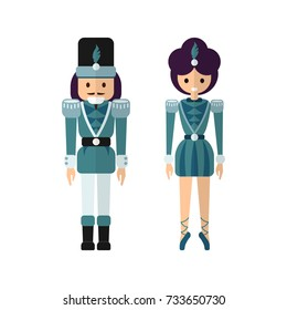 Vector couple of toys from classic Christmas theme ballet Nutcracker - flat style dolls in matching costumes, romantic boy and girl in seasonal dress
