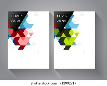 Vector cover and brochure template with color triangle background. Geometry business concept for layout, brochure, flyer, annual report, magazine, business banner, web design, presentation.
